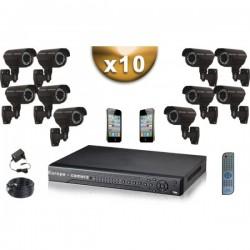 Kit PRO 10 câmeras bullet SONY 1000 TVL + gravador DVR 2000 Go FULL 960H