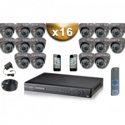 Kit PRO 16 câmeras dome SONY 1000 TVL + gravador DVR 3000 Go FULL 960H