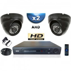 Kit PRO AHD 2 câmeras dome IR 20m SONY HD 960P + gravador DVR AHD 500 Go