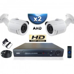 Kit PRO AHD 2 câmeras bullet IR 20m SONY HD 960P + gravador DVR AHD 500 Go