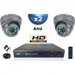 Kit PRO AHD 2 câmeras dome IR 35m SONY HD 960P + gravador DVR AHD 500 Go