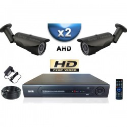 Kit PRO AHD 2 câmeras bullet IR 40m SONY HD 960P + gravador DVR AHD 500 Go