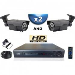 Kit PRO AHD 2 câmeras bullet IR 60m SONY HD 960P + gravador DVR AHD 500 Go