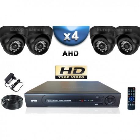 Kit PRO AHD 4 câmeras dome IR 20m SONY HD 960P + gravador DVR AHD 1000 Go