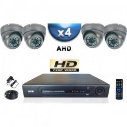 Kit PRO AHD 4 câmeras dome IR 35m SONY HD 960P + gravador DVR AHD 1000 Go