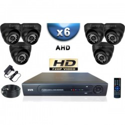 Kit PRO AHD 6 câmeras dome IR 20m SONY HD 960P + gravador DVR AHD 1000 Go