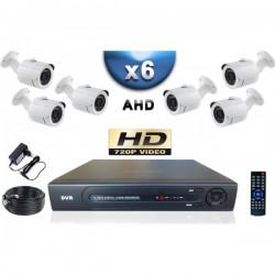 Kit PRO AHD 6 câmeras bullet IR 20m SONY HD 960P + gravador DVR AHD 1000 Go