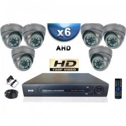 Kit PRO AHD 6 câmeras dome IR 35m SONY HD 960P + gravador DVR AHD 1000 Go