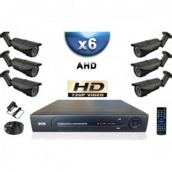 Kit PRO AHD 6 câmeras bullet IR 40m SONY HD 960P + gravador DVR AHD 1000 Go