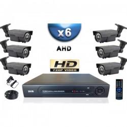 Kit PRO AHD 6 câmeras bullet IR 60m SONY HD 960P + gravador DVR AHD 1000 Go