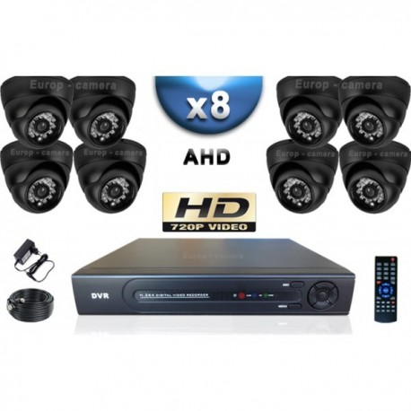 Kit PRO AHD 8 câmeras dome IR 20m SONY HD 960P + gravador DVR AHD 2000 Go