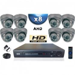 Kit PRO AHD 8 câmeras dome IR 35m SONY HD 960P + gravador DVR AHD 2000 Go