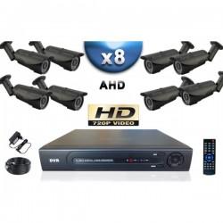 Kit PRO AHD 8 câmeras bullet IR 40m SONY HD 960P + gravador DVR AHD 2000 Go