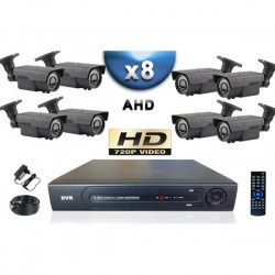 Kit PRO AHD 8 câmeras bullet IR 60m SONY HD 960P + gravador DVR AHD 2000 Go