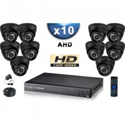 Kit PRO AHD 10 câmeras dome IR 20m SONY HD 960P + gravador DVR AHD 2000 Go