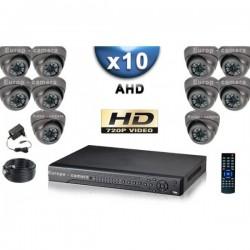 Kit PRO AHD 10 câmeras dome IR 35m SONY HD 960P + gravador DVR AHD 2000 Go