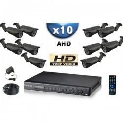 Kit PRO AHD 10 câmeras bullet IR 40m SONY HD 960P + gravador DVR AHD 2000 Go